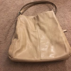 Beige leather coach bag/purse